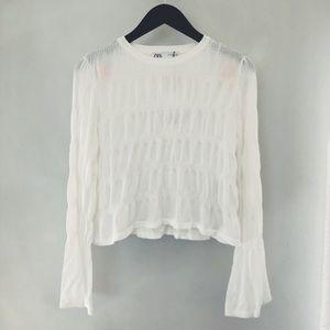 BRAND NEW! Zara crop tee w/bell sleeves sz S